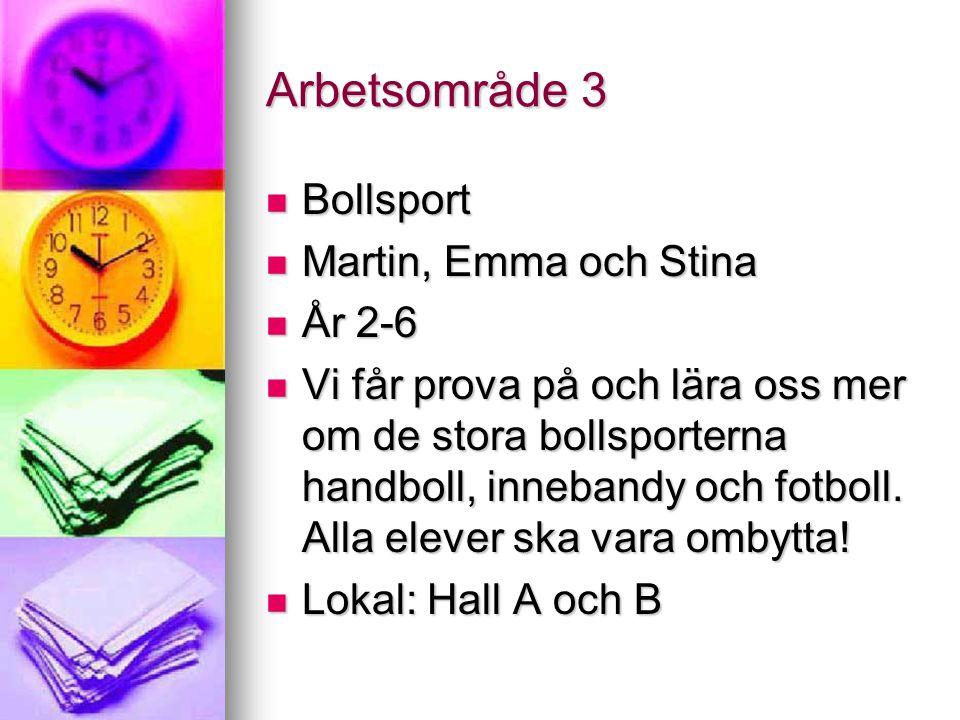 Arbetsområde 3 Bollsport Martin, Emma och Stina År 2-6