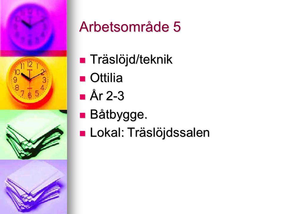 Arbetsområde 5 Träslöjd/teknik Ottilia År 2-3 Båtbygge.