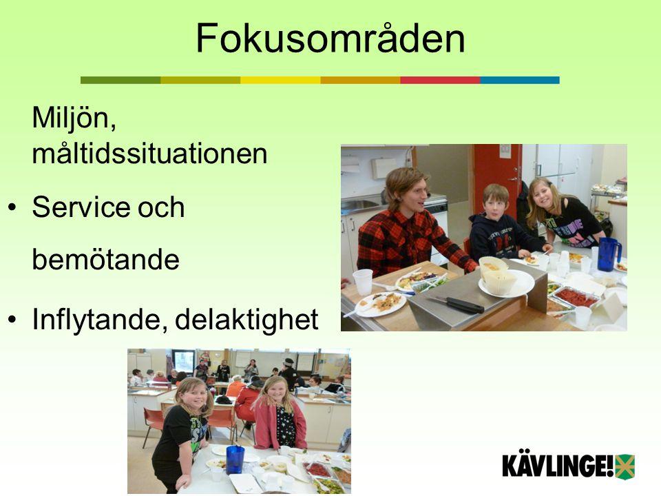 Fokusområden Miljön, måltidssituationen Service och bemötande