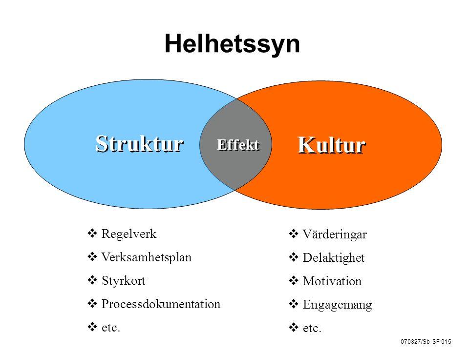 Helhetssyn Struktur Kultur Effekt Regelverk Verksamhetsplan Styrkort