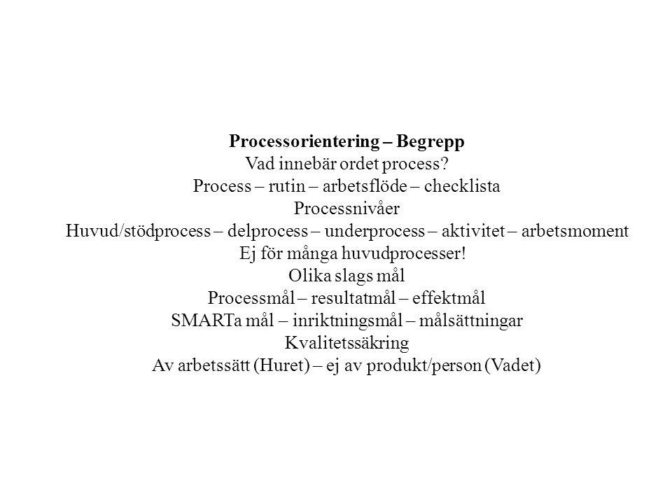 Processorientering – Begrepp Vad innebär ordet process