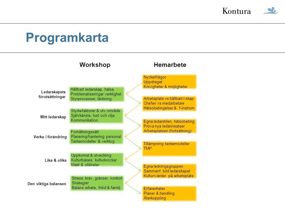 Programkarta Workshop Hemarbete Nyckelfrågor Uppdraget