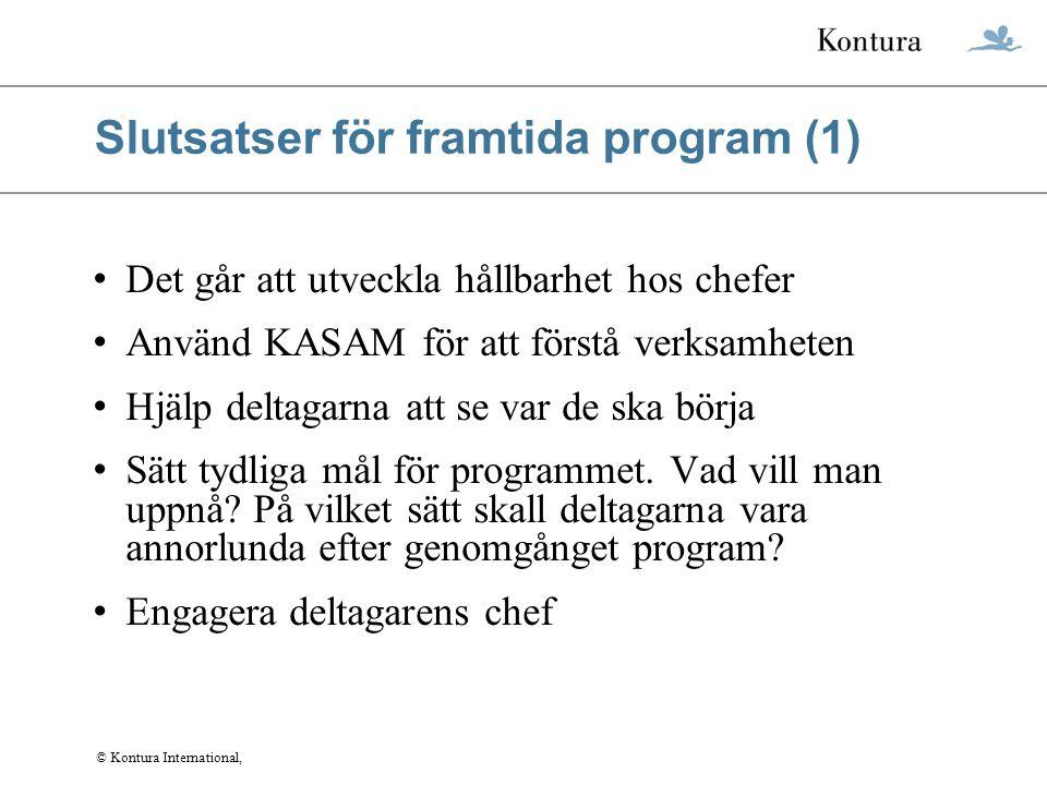 Slutsatser för framtida program (1)