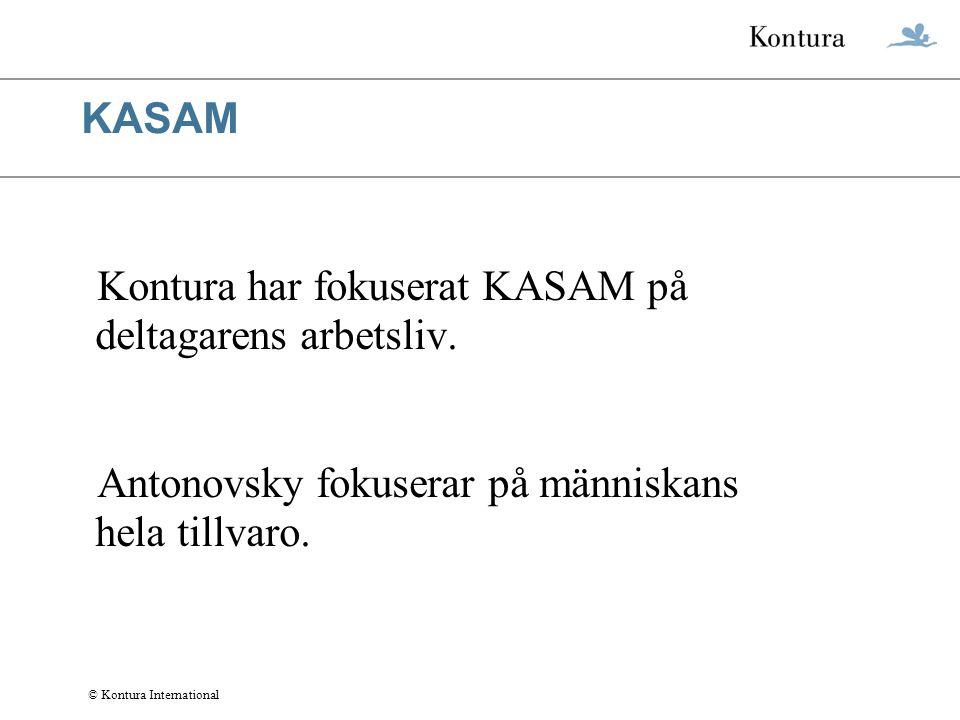 KASAM Kontura har fokuserat KASAM på deltagarens arbetsliv.