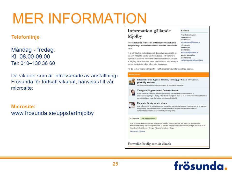 MER INFORMATION Måndag - fredag: Kl. 08.00-09.00