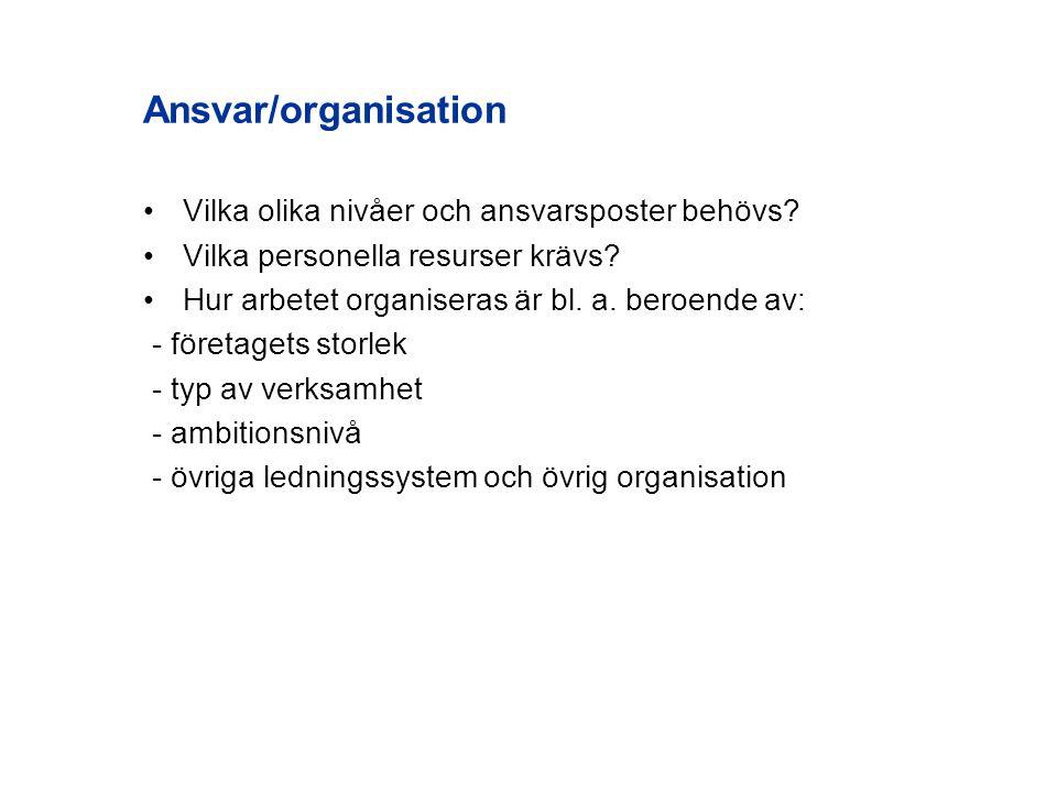 Ansvar/organisation Vilka olika nivåer och ansvarsposter behövs