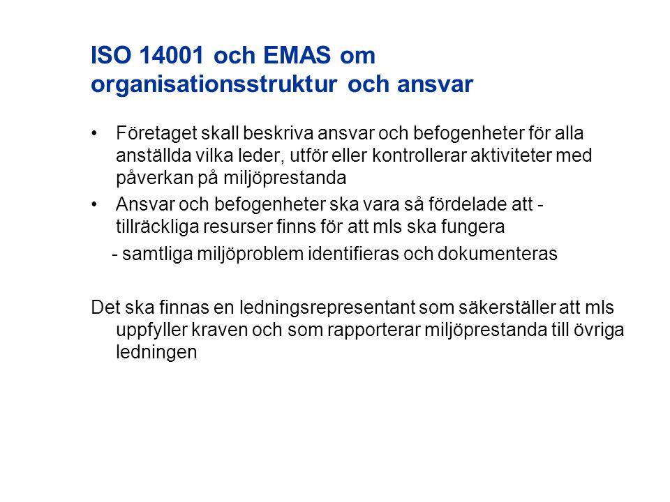 ISO 14001 och EMAS om organisationsstruktur och ansvar