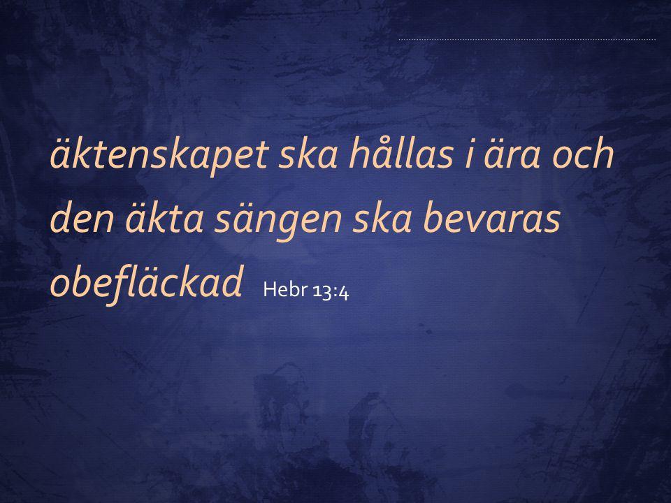 äktenskapet ska hållas i ära och den äkta sängen ska bevaras obefläckad Hebr 13:4