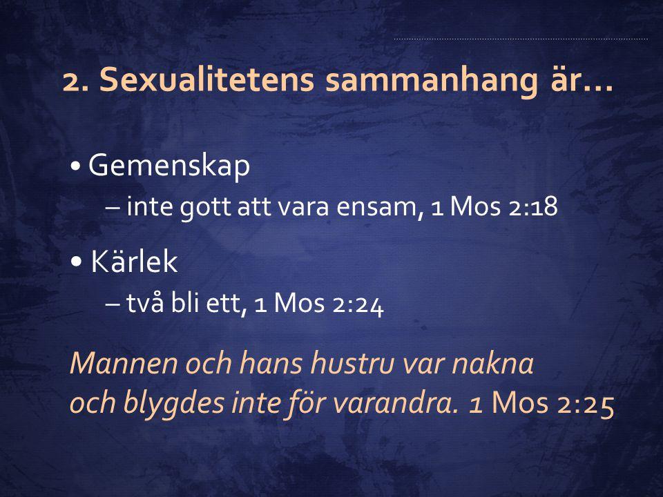 2. Sexualitetens sammanhang är...