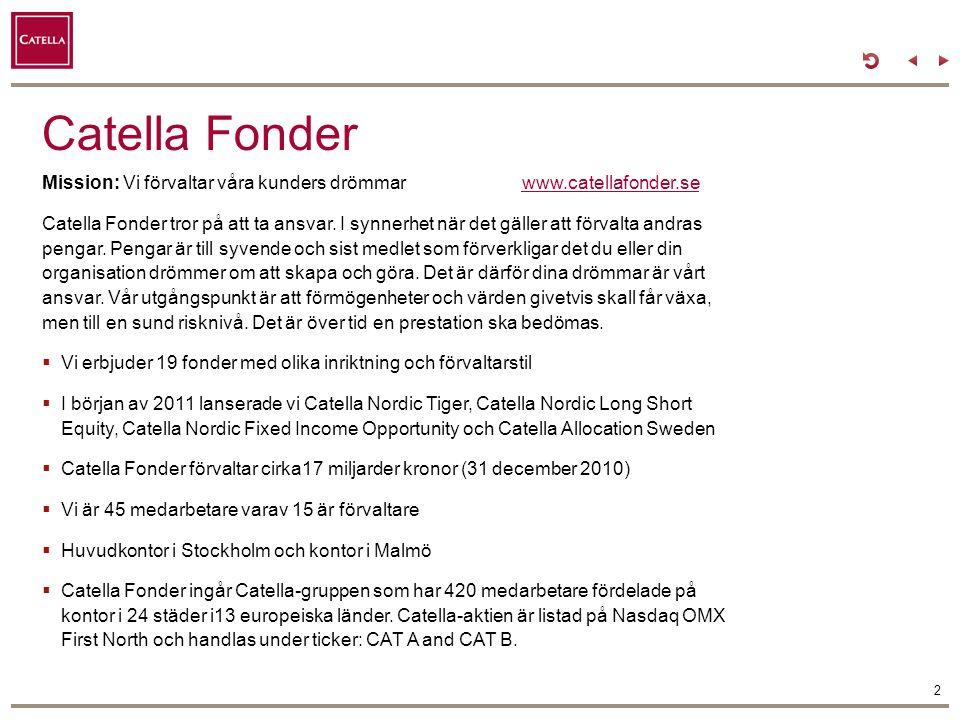 Catella Fonder Mission: Vi förvaltar våra kunders drömmar www.catellafonder.se.