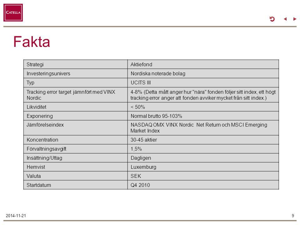 Fakta Strategi Aktiefond Investeringsunivers Nordiska noterade bolag