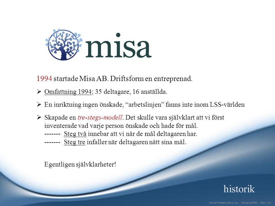 historik 1994 startade Misa AB. Driftsform en entreprenad.