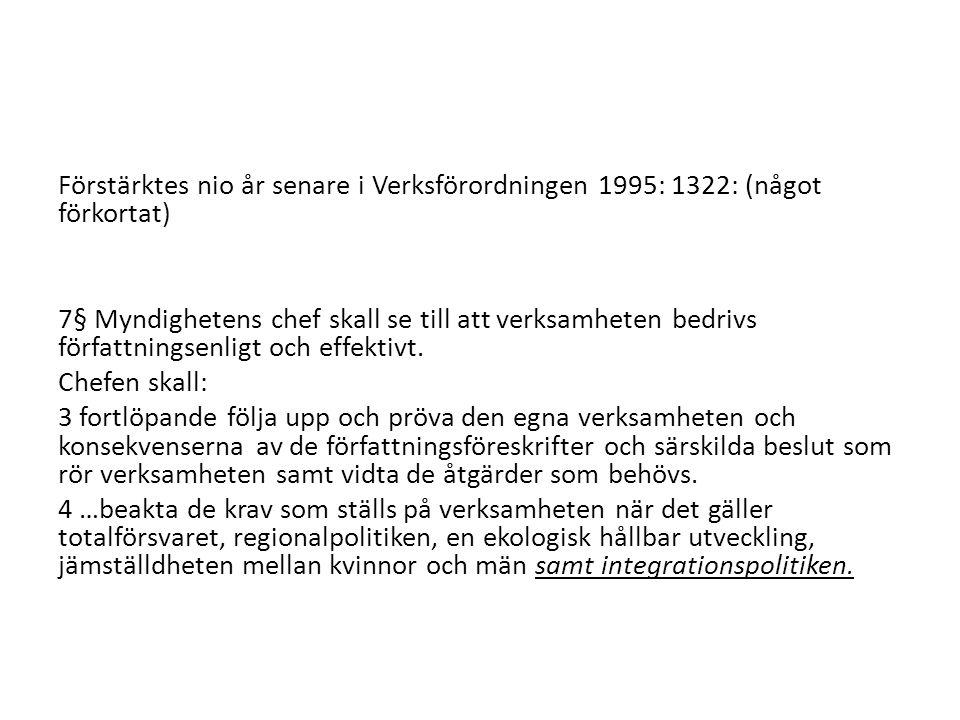 Förstärktes nio år senare i Verksförordningen 1995: 1322: (något förkortat)
