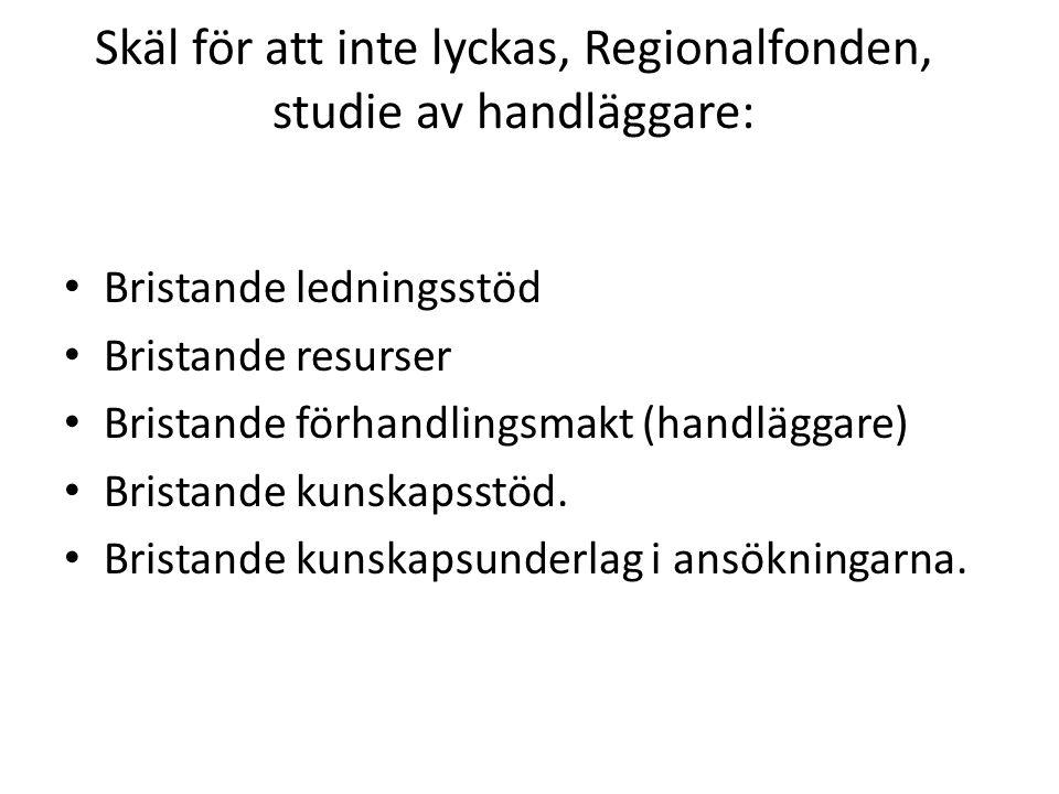 Skäl för att inte lyckas, Regionalfonden, studie av handläggare: