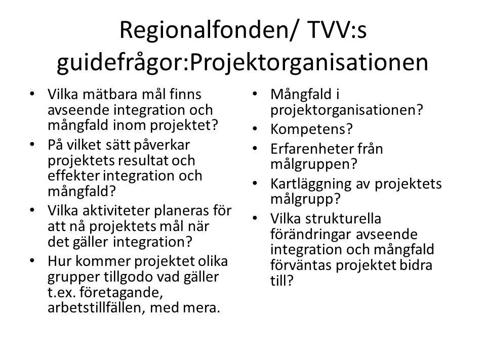Regionalfonden/ TVV:s guidefrågor:Projektorganisationen