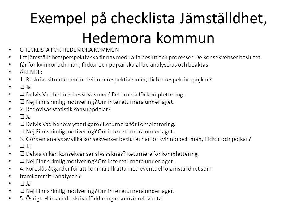 Exempel på checklista Jämställdhet, Hedemora kommun