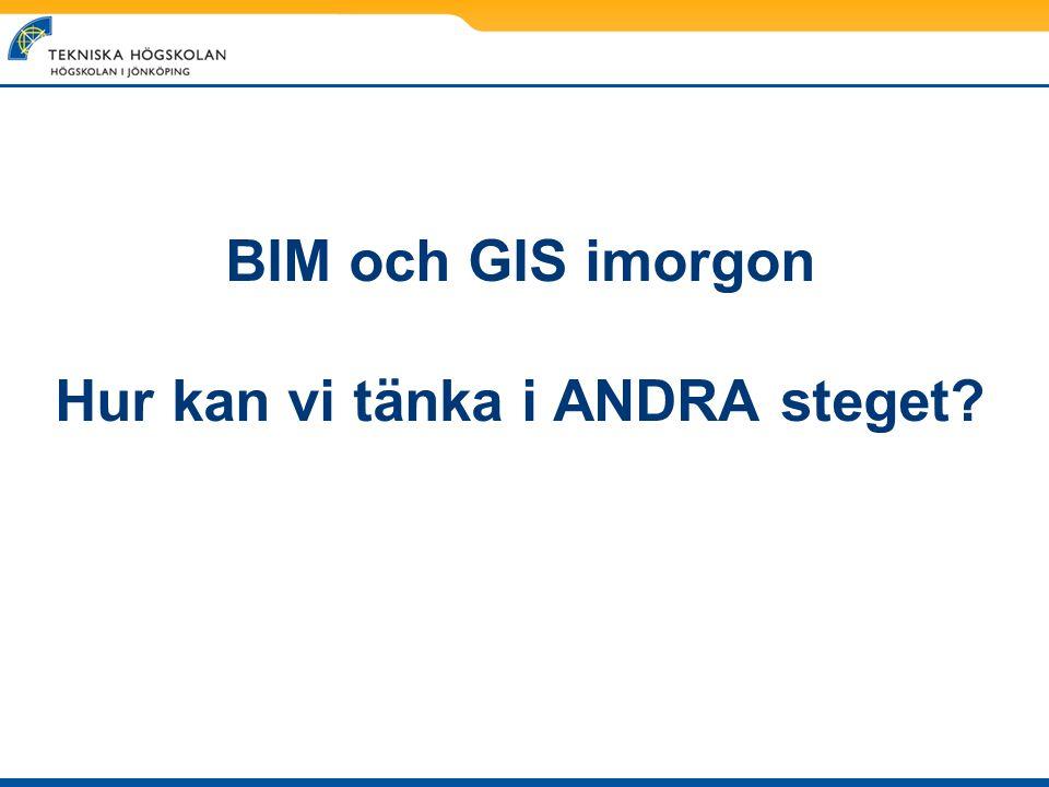 BIM och GIS imorgon Hur kan vi tänka i ANDRA steget