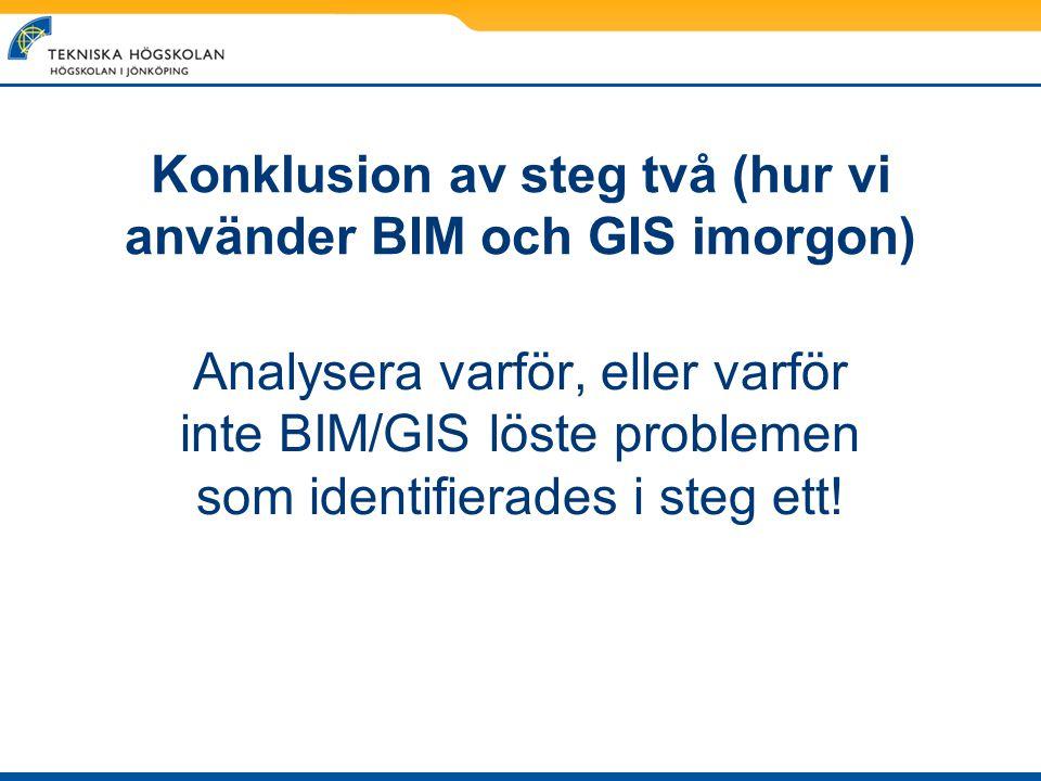 Konklusion av steg två (hur vi använder BIM och GIS imorgon)