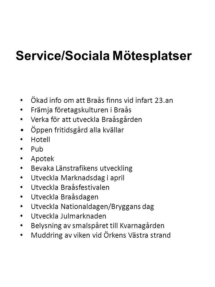 Service/Sociala Mötesplatser