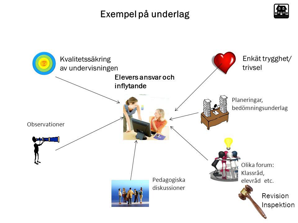 Exempel på underlag Elevers ansvar och inflytande Revision Inspektion