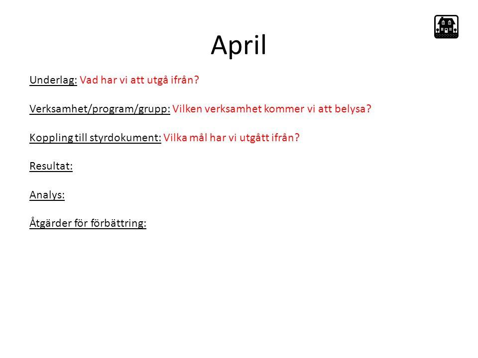 April Underlag: Vad har vi att utgå ifrån