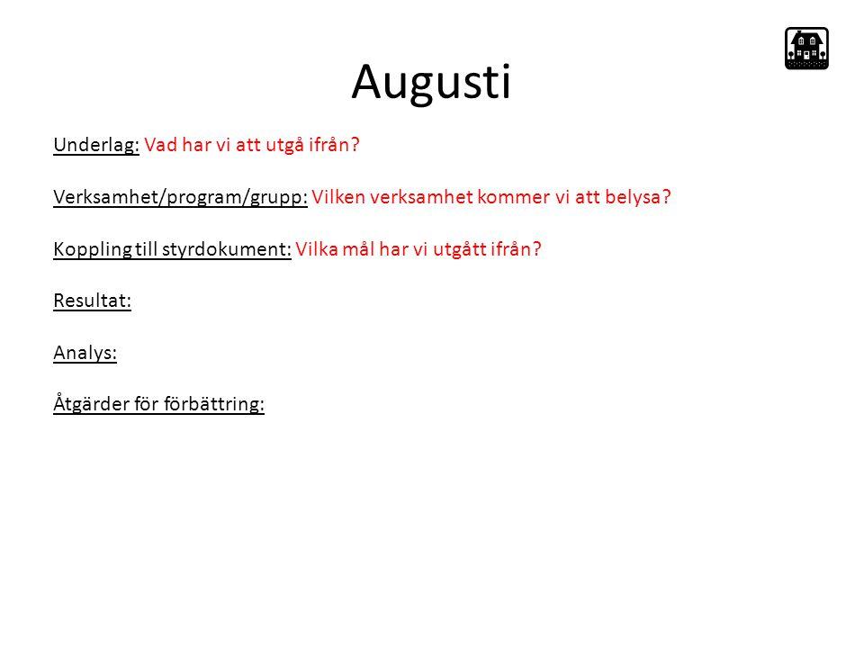 Augusti Underlag: Vad har vi att utgå ifrån