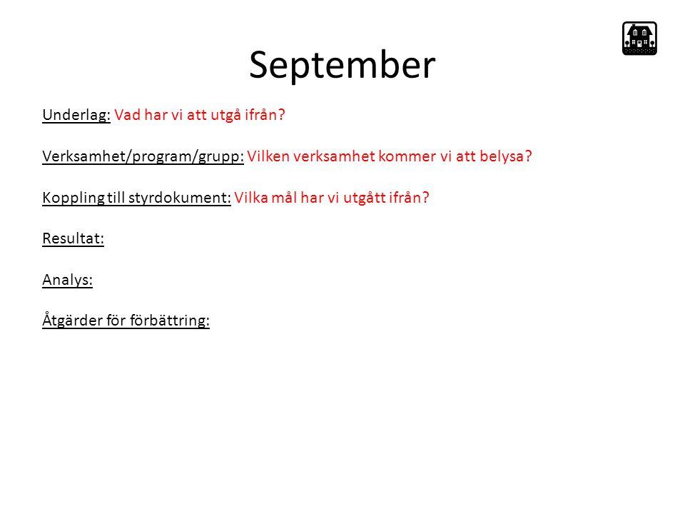 September Underlag: Vad har vi att utgå ifrån