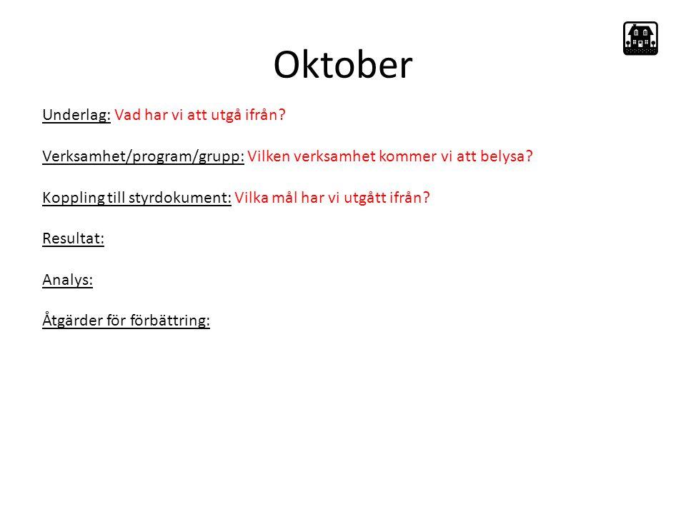 Oktober Underlag: Vad har vi att utgå ifrån