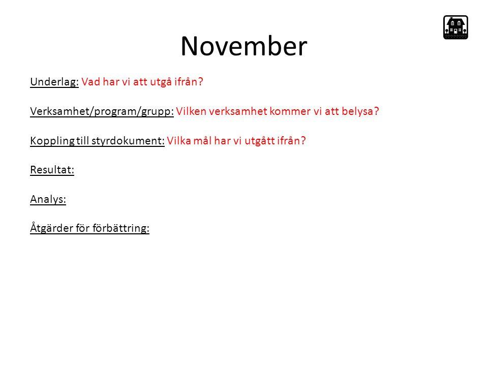 November Underlag: Vad har vi att utgå ifrån