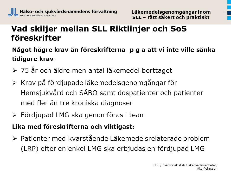 Vad skiljer mellan SLL Riktlinjer och SoS föreskrifter