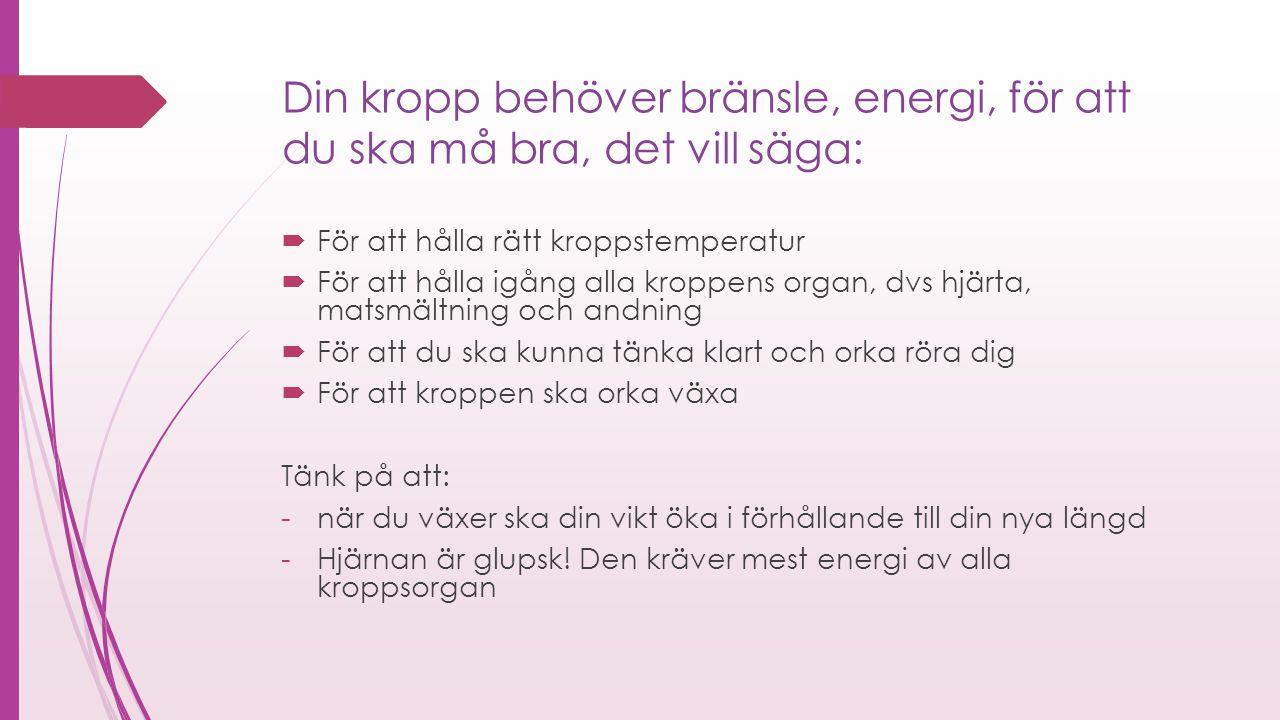 Din kropp behöver bränsle, energi, för att du ska må bra, det vill säga: