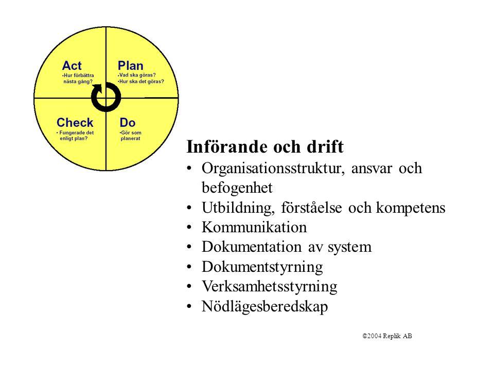 Införande och drift Organisationsstruktur, ansvar och befogenhet