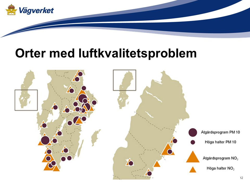 Orter med luftkvalitetsproblem