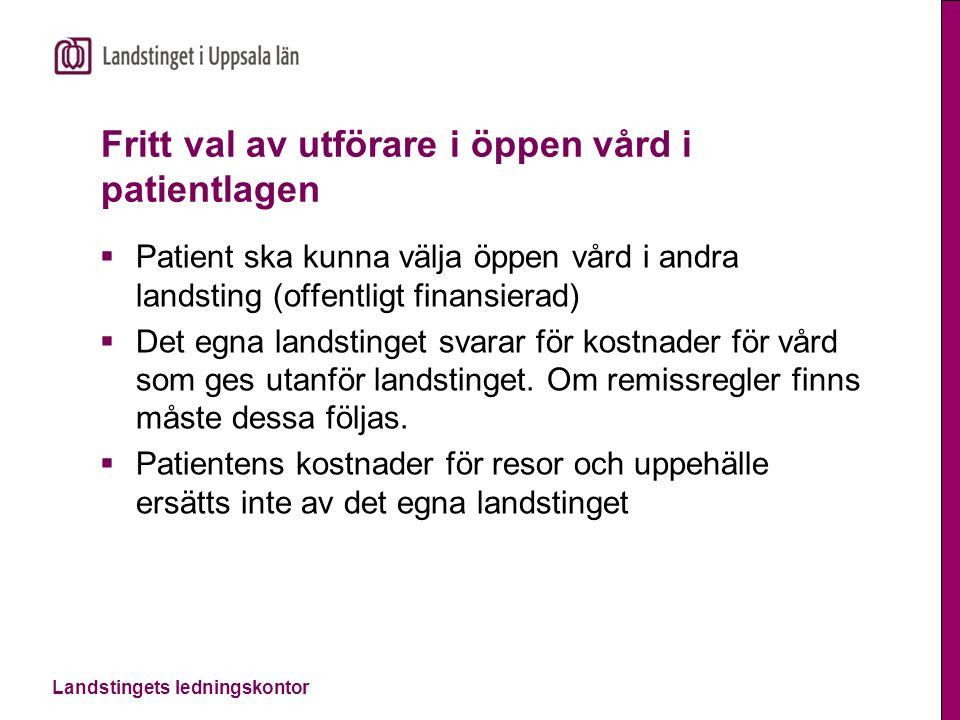 Fritt val av utförare i öppen vård i patientlagen