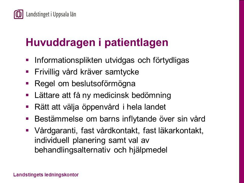 Huvuddragen i patientlagen