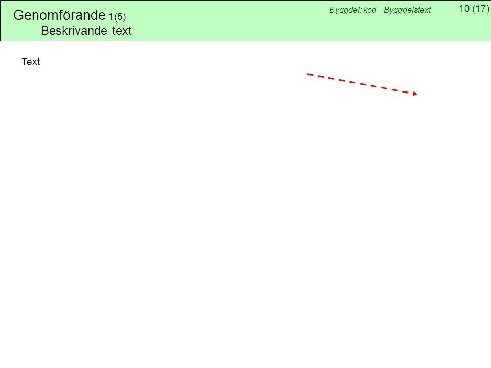 Genomförande 1(5) Byggdel: kod - Byggdelstext Beskrivande text Text
