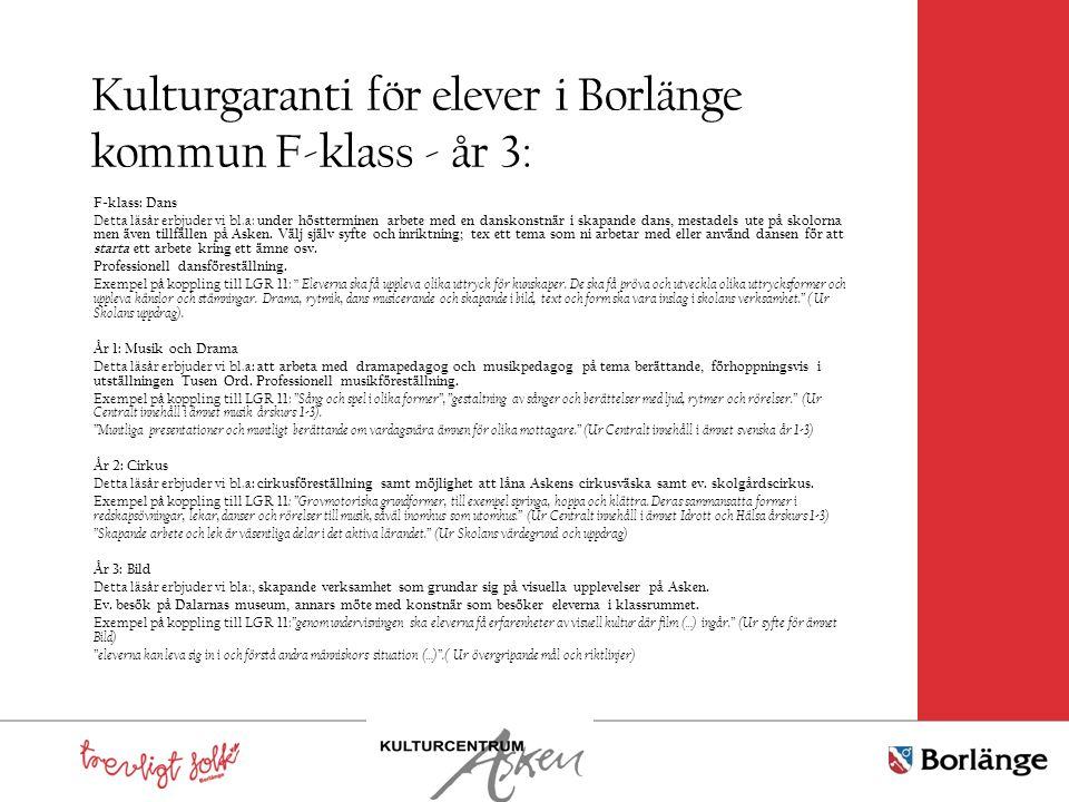 Kulturgaranti för elever i Borlänge kommun F-klass - år 3: