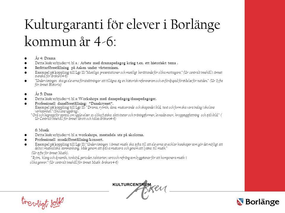 Kulturgaranti för elever i Borlänge kommun år 4-6: