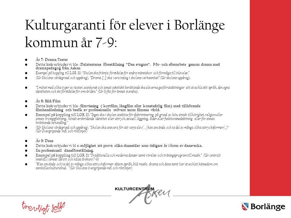 Kulturgaranti för elever i Borlänge kommun år 7-9: