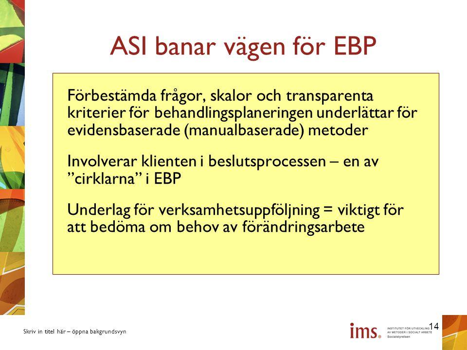 ASI banar vägen för EBP
