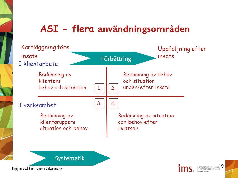 ASI - flera användningsområden