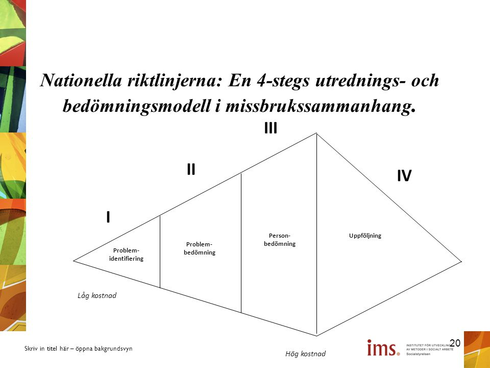 Nationella riktlinjerna: En 4-stegs utrednings- och bedömningsmodell i missbrukssammanhang.