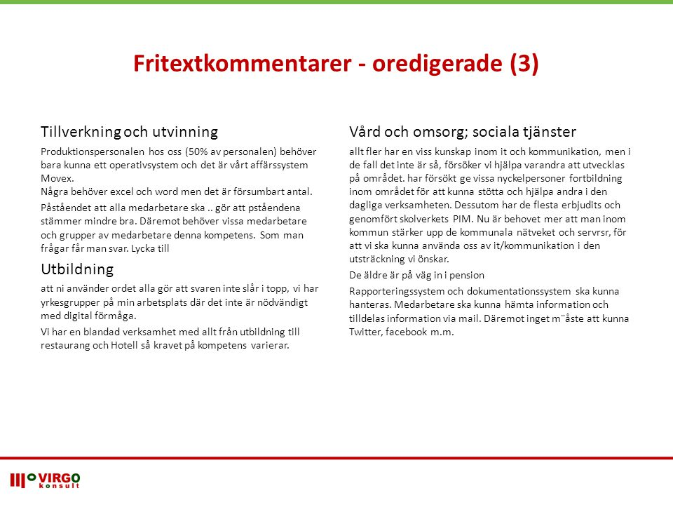 Fritextkommentarer - oredigerade (3)