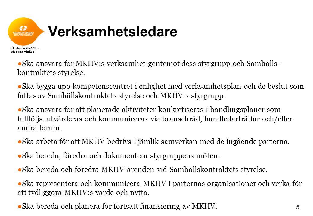 Verksamhetsledare Ska ansvara för MKHV:s verksamhet gentemot dess styrgrupp och Samhälls- kontraktets styrelse.