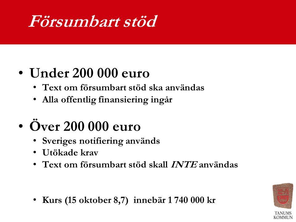 Försumbart stöd Under 200 000 euro Över 200 000 euro