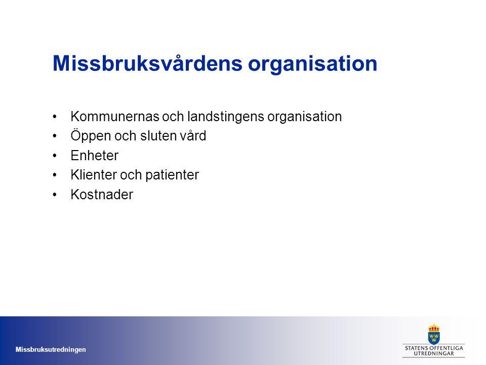 Missbruksvårdens organisation