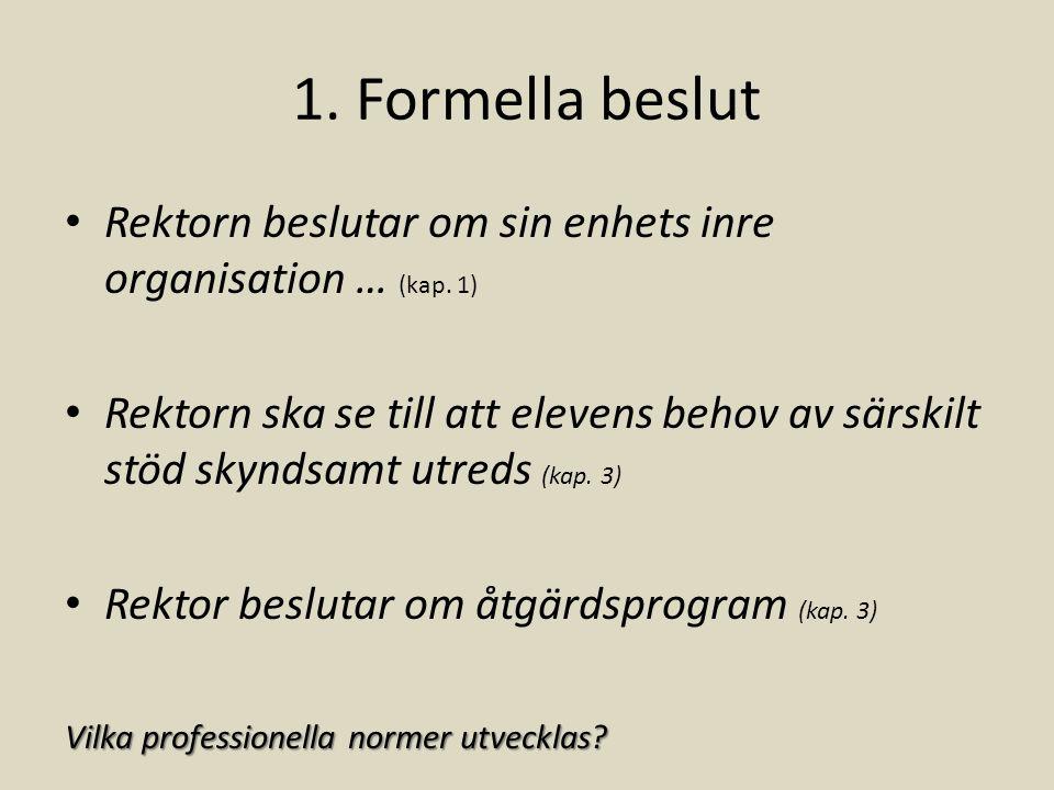 1. Formella beslut Rektorn beslutar om sin enhets inre organisation … (kap. 1)