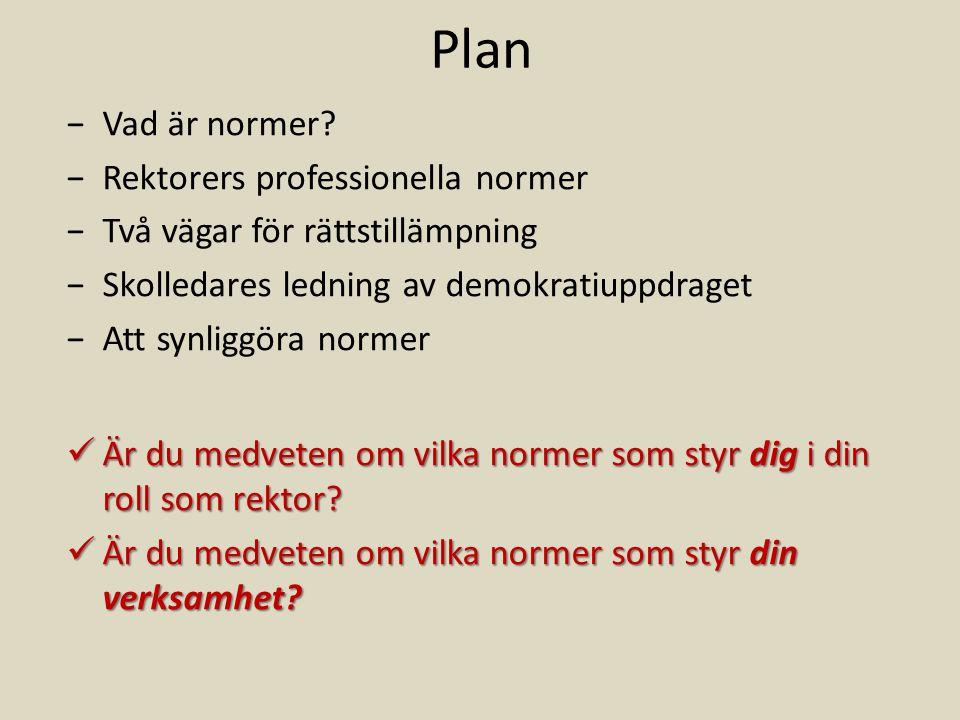 Plan Vad är normer Rektorers professionella normer