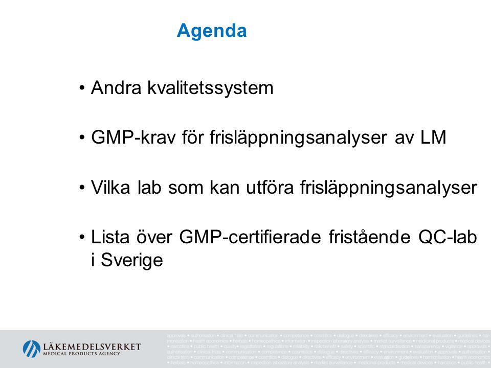Agenda Andra kvalitetssystem. GMP-krav för frisläppningsanalyser av LM. Vilka lab som kan utföra frisläppningsanalyser.