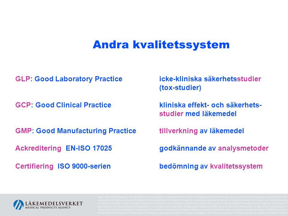 Andra kvalitetssystem GLP: Good Laboratory Practice